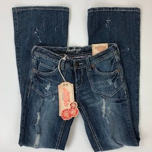 Amethyst NWT Distressed Low Rise Flare Jeans Sz. 3
